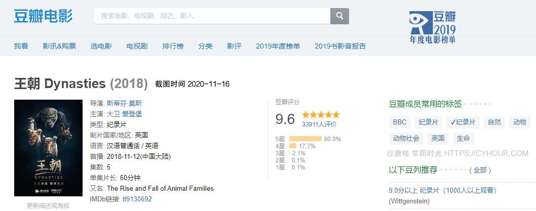 2018高分纪录片 BBC.王朝.Dynasties 五集全 2160p 1080p BT种子-沙唐桔
