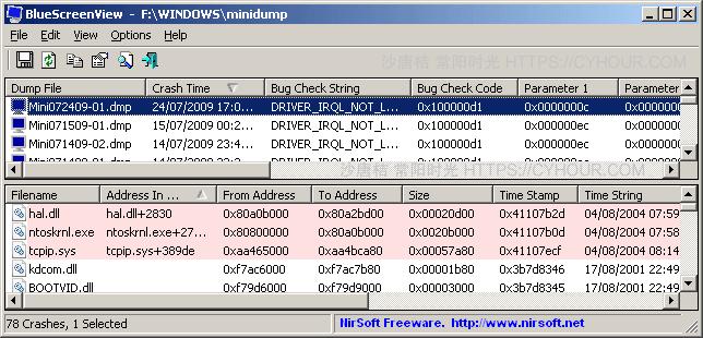 BlueScreenView 电脑蓝屏分析实用工具-沙唐桔