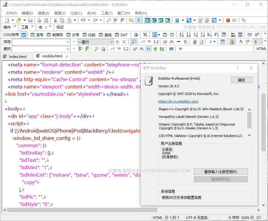强大的文本编辑器 EmuraSoft EmEditor Professional v20.4.5 官方特别版下载-沙唐桔